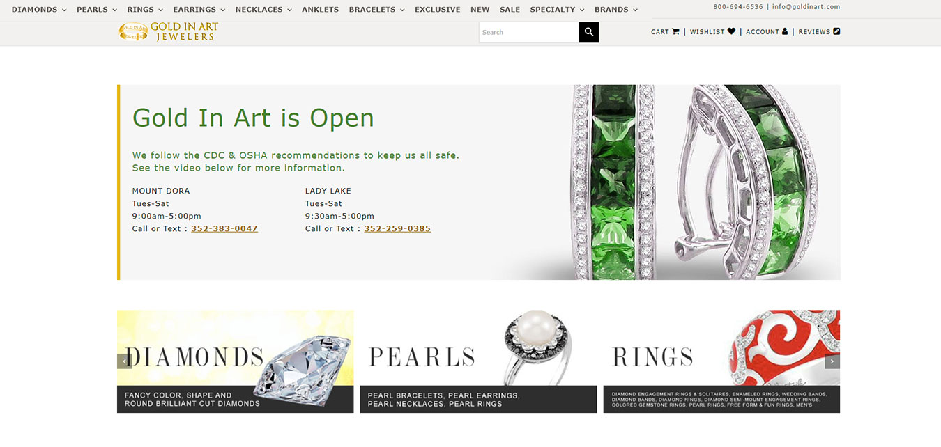 GoldInArt.com screenshot, jewelry store with locations in in Mt. Dora, FL and Lady Lake, FL
